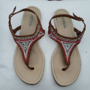 Brown and Coral flat sandals